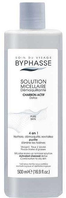 Mizellen-Reinigungswasser mit Aktivkohle für fettige und Mischhaut - Byphasse Micellar Make-Up Remover Solution With Activated Charcoal