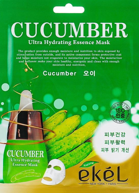 Feuchtigkeitsspendende Tuchmaske für das Gesicht mit Gurkenextrakt - Ekel Cucumber Ultra Hydrating Essence Mask