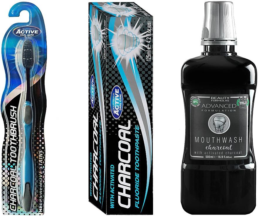 Mundpflegeset - Beauty Formulas Charcoal (Mundwasser 500ml + Zahnbürste 1 St. + Zahnpasta 125g)