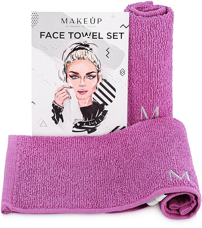 Gesichtstücher lila 32x32 cm - Makeup MakeTravel Face Towel Set (Duo Pack)