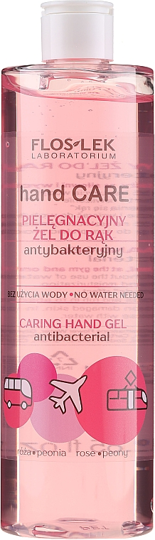 Antibakterielles Handgel mit Rose und Pfingstrose - Floslek Hand Care Caring Hand Gel
