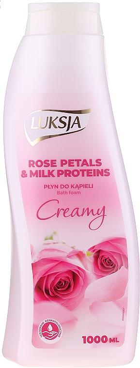 Cremiger Badeschaum Rosenblätter & Milchproteine - Luksja Creamy Rose Petals & Milk Proteins Bath Foam