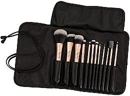 Düfte, Parfümerie und Kosmetik Make-up Pinselset in einem schwarzen Pinseletui 12-tlg. - Peggy Sage