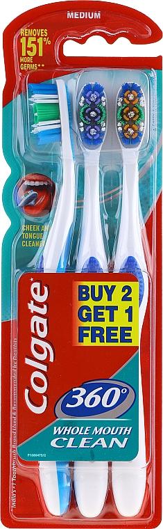 Zahnbürste mittel blau, violett, orange 3 St. - Colgate 360