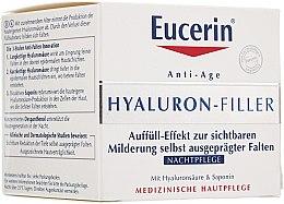Düfte, Parfümerie und Kosmetik Anti-Aging Nachtpflege für das Gesicht mit Hyaluronsäure und Saponin - Eucerin Hyaluron-Filler Night