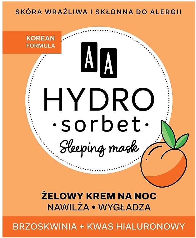 Feuchtigkeitsspendende und glättende Gesichtsgel-Creme für die Nacht mit Pfirsich und Hyaluronsäure - AA Hydro Sorbet Korean Formula Sleeping Mask