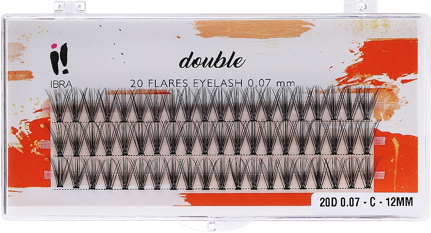 Wimpernbüschel-Set C 12 mm - Ibra 20 Flares Eyelash Knot Free Naturals
