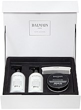 Düfte, Parfümerie und Kosmetik Haarpflegeset - Balmain Paris Hair Couture Silver Revitalizing Care Set (Haarmaske 200ml + Conditioner 300ml + Shampoo 300ml + Kamm)