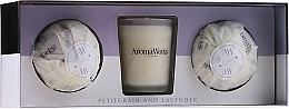 Düfte, Parfümerie und Kosmetik Duftset - AromaWorks Light Range Petitgrain & Lavender & Mini Aromabomb Gift Set (Duftkerze 10ml + Badebombe 2x 175g)