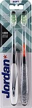 Düfte, Parfümerie und Kosmetik Zahnbürste weich Individual Clean schwarz-weiß mit Schloss, orange-schwarz mit Aufdruck 2 St. - Jordan Individual Clean Soft