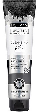 Klärende Gesichtsmaske mit Aktivkohle und Probiotika - Freeman Beauty Infusion Cleansing Clay Mask Charcoal & Probiotics