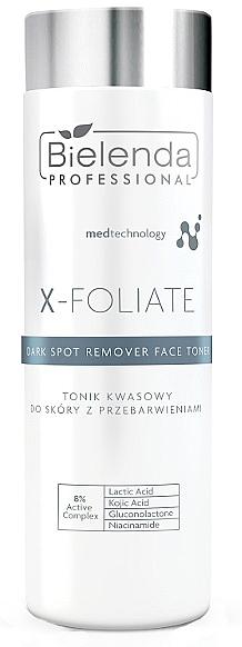 Aufhellendes Gesichtstonikum gegen Pigmentflecken mit Nicianamid, Milch- und Kojisäure - Bielenda Professional X-Foliate Dark Spot Remover Face Toner — Bild N1