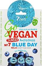 Düfte, Parfümerie und Kosmetik Entspannende Tuchmaske für das Gesicht mit Heidelbeer-, Agaven-, Matcha- und Lotusextrakt - 7 Days Go Vegan Sunday Blue Day