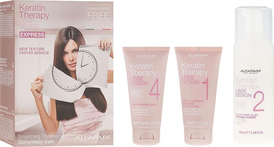 Haarpflegeset mit Keratin - Alfaparf Milano Lisse Design Keratin Therapy Smoothing Treatment Kit (Shampoo 40ml + Mousse 100ml + Haarmaske 40ml)