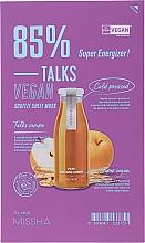 Düfte, Parfümerie und Kosmetik Nährende Tuchmaske mit Birnenfruchtextrakt und Ballonblumenwurzel - Missha Talks Vegan Squeeze Sheet Mask Super Energizer