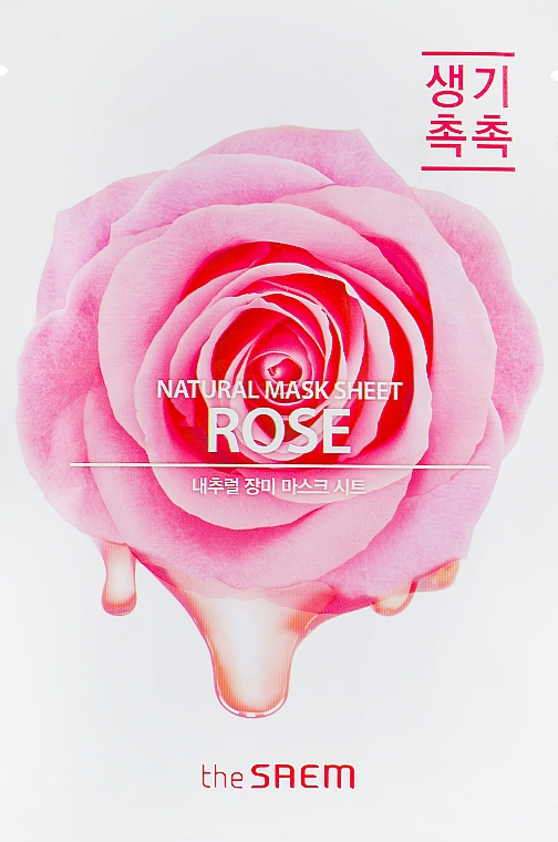 Feuchtigkeitsspendende und reinigende Tuchmaske für das Gesicht mit Rosenextrakt gegen Reizungen, Rötungen und Hautunreinheiten - The Saem Natural Rose Mask Sheet — Bild N1