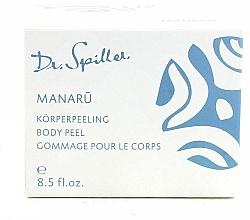 Düfte, Parfümerie und Kosmetik Glättendes und feuchtigkeitsspendendes Körperpeeling mit Hibiskus, Monoiöl und gemahlenen Vanilleschoten - Dr. Spiller Manaru Body Peel