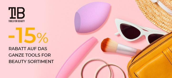 15% Rabatt auf das ganze Tools For Beauty Sortiment. Die Preise auf der Website sind inklusive Rabbatte.