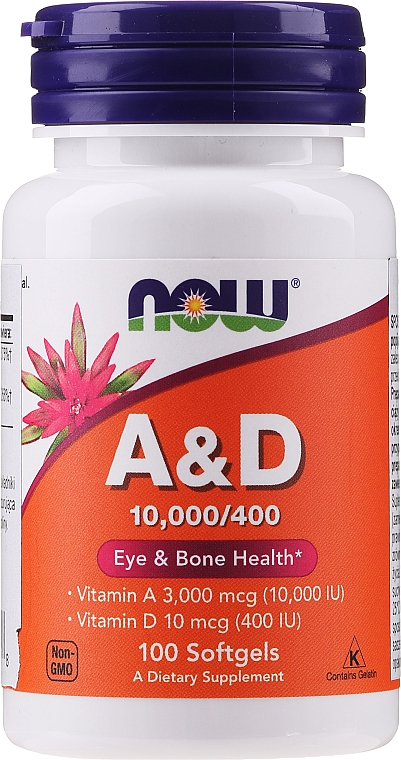 Suplement diety Witaminy A i D - Now Foods A&D Eye & Bone Health
