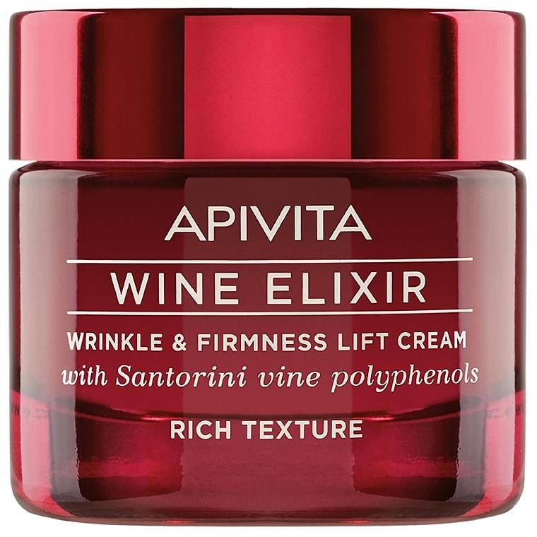 Straffende Liftingcreme für das Gesicht mit Santorini-Wein-Polyphenolen - Apivita Wine Elixir Wrinkle And Firmness Lift Cream Rich Texture