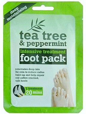 Feuchtigkeitsspendende Fußmaske in Socken mit Teebaum und Pfefferminze - Xpel Marketing Ltd Tea Tree & Peppermint Deep Moisturising Foot Pack