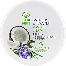 Düfte, Parfümerie und Kosmetik Entspannende Massagecreme für den Körper mit Lavendelextrakt und Kokosnussöl - Bulgarian Rose Herbal Care Lavender & Cococnut Massage Cream