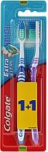 Düfte, Parfümerie und Kosmetik Zahnbürste mittel Extra Clean blau, lila 2 St. - Colgate Extra Clean Medium