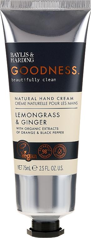 Feuchtigkeitsspendende Handcreme Zitronengras & Ingwer - Baylis & Harding Goodness Lemongrass & Ginger Natural Hand Cream