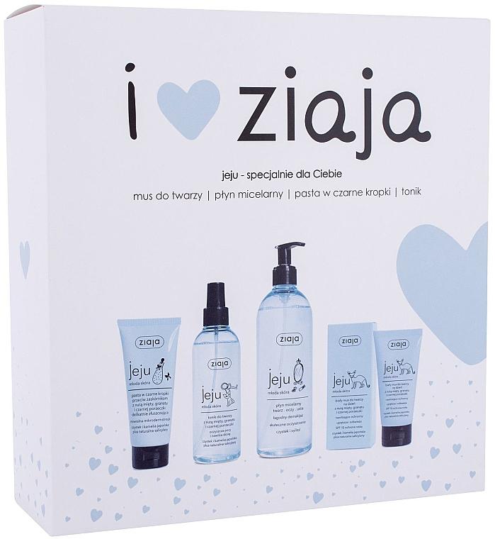 Gesichtspflegeset - Ziaja I Love Ziaja (Anti-Akne-Creme-Paste für das Gesicht 75ml + Porenreinigendes Gesichtswasser 200ml + Mizellenwasser zum Abschminken 390ml + Gesichtsmousse 50ml)