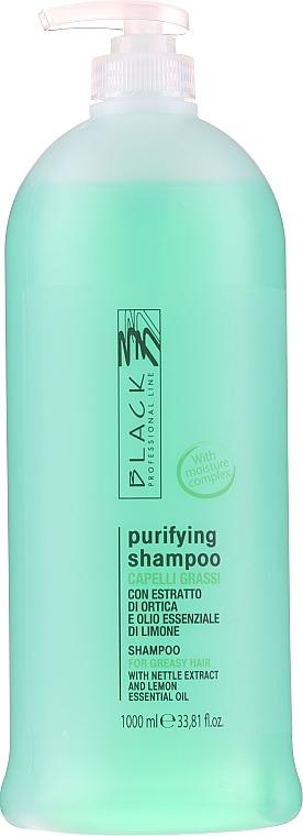 Seboregulierendes Shampoo mit Brennnessel und Zitronenöl für fettiges Haar - Black Professional Line Sebum-Balancing Shampoo