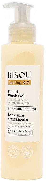 Erfrischendes und mattierendes Gesichtswaschgel mit Papaya und blauem Retinol für fettige und Mischhaut - Bisou Matting Bio Facial Wash Gel