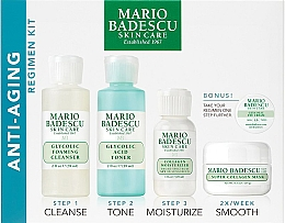 Düfte, Parfümerie und Kosmetik Gesichtspflegeset - Mario Badescu Anti-Aging Kit (Reinigungsschaum 56ml + Gesichtstonikum 56ml + Gesichtscreme 28ml + Gesichtsmaske 14ml + Augencreme 3g)