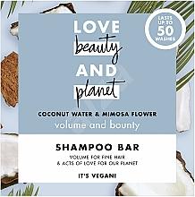 Düfte, Parfümerie und Kosmetik Festes Shampoo für mehr Volumen mit Kokosnusswasser und Mimosenblüte - Love Beauty And Planet Coconut & Mimosa Shampoo