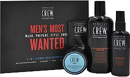 Düfte, Parfümerie und Kosmetik Haarpflegeset - American Crew Men's Most Wanted Strong Hold (Shampoo 250ml + Haarpaste 50g + Haarspray 100ml + Gesichtsbalsam 7.4ml)