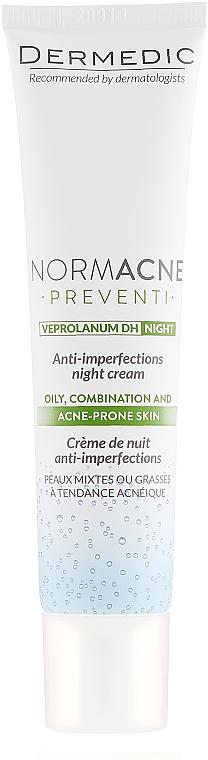Anti-Akne Nachtcreme für fettige und Mischhaut gegen Unvollkommenheiten - Dermedic Normacne Preventi Anti-Imperfections Night Cream