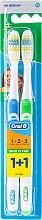 Düfte, Parfümerie und Kosmetik Zahnbürste mittel 1 2 3 Maxi Clean blau, grün 2 St. - Oral-B 1 2 3 Maxi Clean 40 Medium 1+1
