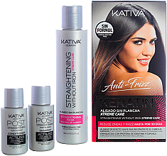 Düfte, Parfümerie und Kosmetik Haarpflegeset - Kativa Anti-Frizz Straightening Without Iron Xtreme Care (Haarmaske 150ml + Shampoo 30ml + Conditioner 30ml)