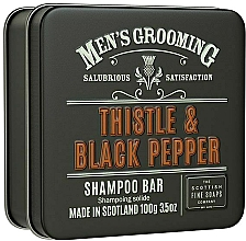 Düfte, Parfümerie und Kosmetik Stärkendes und glättendes festes Shampoo mit Distelsamenöl und Weizenprotein - Scottish Fine Soaps Mens Grooming Thistle & Black Pepper Shampoo Bar