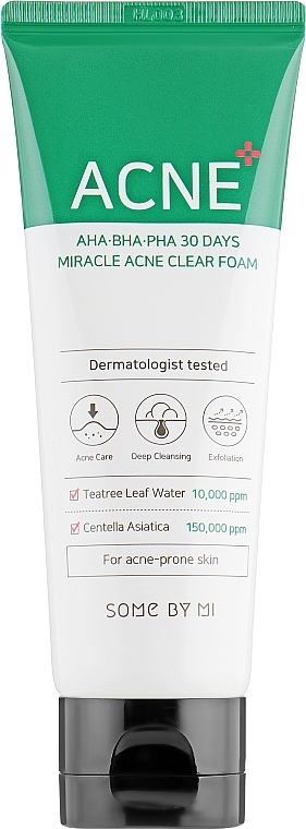 Gesichtsreinigungsschaum für zu Akne neigende Haut - Some By Mi AHA BHA PHA 30 Days Miracle Acne Clear Foam