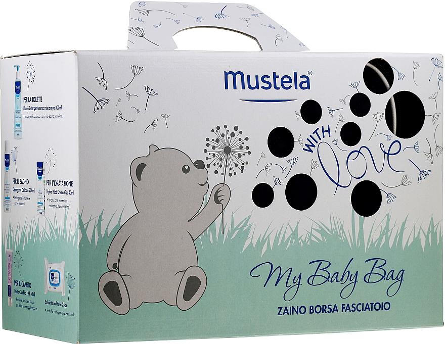 Körperpflegeset - Mustela My Baby Bag Set (Reinigungswasser 300ml + Schaumgel 200ml + Gesichtscreme 40ml + Körpercreme 50ml + Feuchttücher 25St. + Kosmetiktasche)